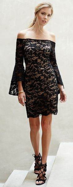 This evening-ready sheath dress is certainly a showstopper in allover  floral lace with dramatic