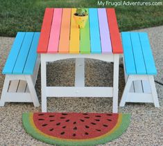 Rainbow Picnic Table for Kids - My Frugal Adventures Patio Chairs, Play Houses, Kids Furniture, Kids Playing, Home Furnishings, Shabby, Diy Projects, Backyard, Rainbow