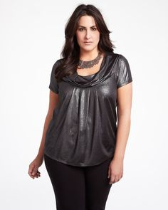foil cowl neck top, Addition Elle, Plus Size, Trends, Silver, White, Curvy, Plus Size Clothing, Apparel