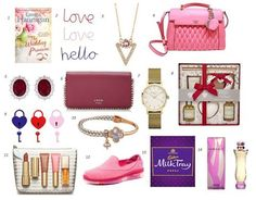 Here are just some of the gorgeous gifts perfect for Valentine's Day! #sharethelove 1. The Wedding Promise by Emma Hannigan, €11.99 Easons 2. Wire Words for hanging, €3 Tiger 3. Fine Swarovski Freja Pendant, €36.00 Carraig Donn 4. Guess Marisa Flap Handbag Pink, €145 Kilkenny 5. Ladies Sterling Silver and Ruby Cubic Zirconia Stud Earrings, €79.50 Fields 6. Guess Johanna Chain Wallet Plum, €59 Kilkenny 7. Rosefield THE MERCER White Gold, €89.95 Fields 8. La Maison De Senteurs Home Fragrance…