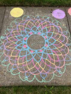 Round and round we go Sidewalk Chalk, Chalk Art, Tatoos, Craft Projects, Patterns, Stone, Outdoor Decor, Crafts, Block Prints