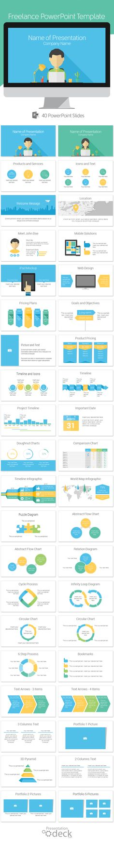 Freelance PowerPoint template in flat design style with 40 pre-designed slides. This template is a great choice for presentations on freelancing jobs, work from home, small business, etc. #powerpoint #presentations #powerpoint_templates #freelance