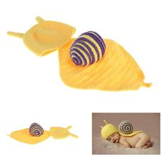 Baby Infant Snail Crochet Knitting Costume Soft Adorable Clothes Photo Photography Props for 0-6 Month Newborn