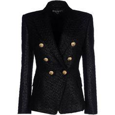 BALMAIN Blazer ($2,340) ❤ liked on Polyvore featuring outerwear, jackets, blazers, blazer, balmain, casacos, jacquard blazer, black collared jacket, lined jacket and black jacket