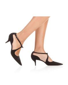 Zapatos Pura López de tacón medio en ante negro