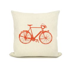 Vintage bicycle print with your color print on your choice of fabric - 16x16 or 12x18 decorative pillow cover $39.68 USD