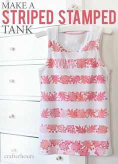 Have some plain tees that need excitement? I made a striped stamped tank and I'll show you how to make your own! Great for gifts and craft fairs!