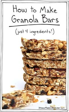 How to Make Granola Bars (Just 4 Ingredients!) Vegan, gluten free, and processed sugar free! Just 4 ingredients, 5 if you want to be all fancy and add chocolate chips or fruit or something fun. Healthy Bars, Healthy Sweets, Healthy Snacks, Healthy Recipes, Protein Snacks, Healthy Breakfasts, Healthy Homemade Granola Bars, Eating Healthy, Protein Bar Recipes