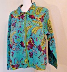 Norm-Thompson-Women-039-s-Jacket-Size-2x-Multi-Colored-Quilted-Reversible-Floral