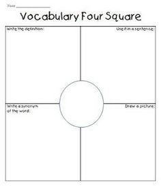 Vocabulary four square for vocabulary day