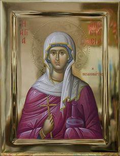 painted icon of st mary magdalene St Anastasia, St Brigid, Paint Icon, Byzantine Icons, Mary Magdalene, Orthodox Icons, Religious Art, Saints, Artworks