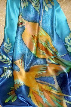 Batik scarf Birds/Hand painted silk scarf with yellow by HotBatik