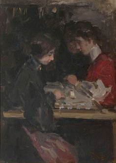 'Isaac' Lazarus Israels (1865-1934)  The fashion atelier, oil on panel 46.0 x 33.0 cm., signed l.r. Collection Simonis & Buunk, The Netherlands.