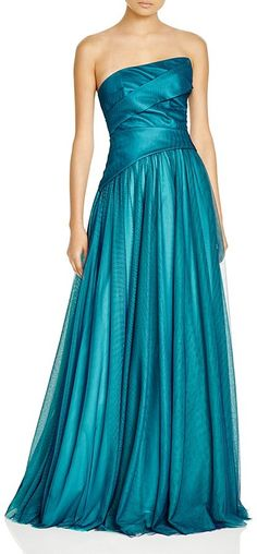 Beautiful peacock ML Monique Lhuiller Strapless Tulle Gown - perfect as a bridesmaids dress.