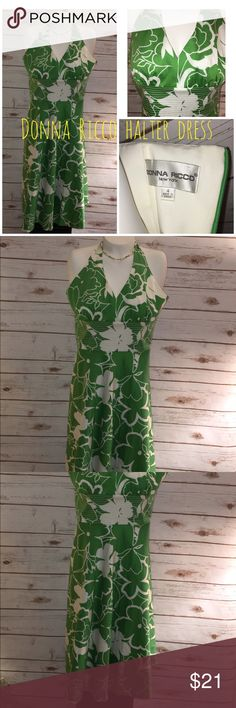 Donna Ricco halter top dress, very flattering ! This is a great quality , worn twice,  cotton spandex dress. Gorgeous !! No stains or flaws . Donna Ricco Dresses Midi