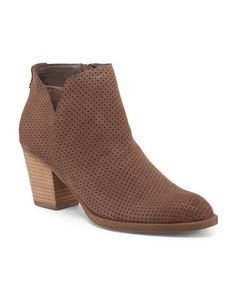 Perforated Casual Heel Suede Booties - Shoes - T.