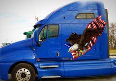 Patriotic bald eagle decals for big semi trucks American Flag Decal, American Flag Eagle, Semi Trucks, Big Trucks, Semi Trailer, Truck Decals, State Art, Bald Eagle, Missouri