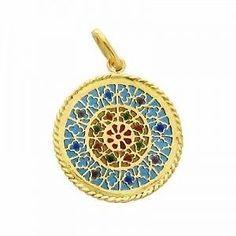 Médaille Vitrail Notre Dame DE Paris OR 18K DE 2 GR ET Émaux Diamètre 2 1 CM   eBay