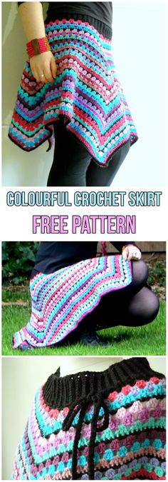 Colourful Crochet Skirt Free Pattern #diy #diyproject #howto #skirt #freepattern #crochet #crochetpattern #handmade #crocheting #summer #summerstyle #colorful #colors