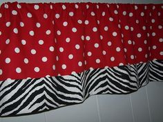 Red and White Polka Dot Valance Curtains with by kangaroocloset