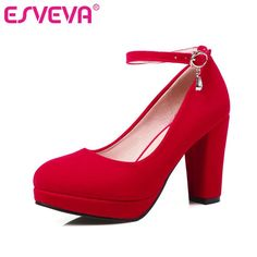 ESVEVA Red Ankle Strap Woman Pump Thick High Heel Flock Ladies Summer Shoes Fashion Platform Ladies Wedding Shoe Size 34-43  #iwant #instafashion #instastyle #ootd #beauty #pretty #love #fashionista #dress #cool
