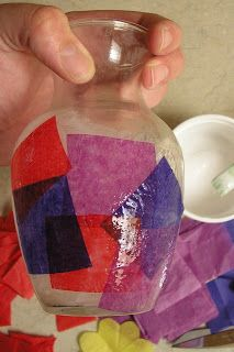 Hearts and Trees: Tissue Paper (stained glass) Vase Project