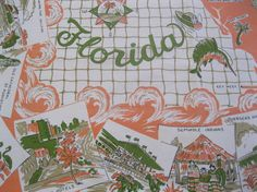 Vintage 1950s Florida souvenir tablecloth with palm trees and flamingos  $85    https://www.etsy.com/listing/78972983/vintage-1950s-florida-souvenir?ref=shop_home_active