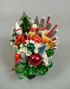 Christmas Corsage Vintage Elves Spun Cotton Reindeer