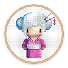 GEISHA GIRL SORA: a pixel art counted cross stitch pattern - digital download - printable pdf file