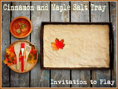"Cinnamon and Maple Salt Tray. A fall invitation to play from My Nearest and Dearest. (also love using the term ""invitation to play! Fall Preschool Activities, Sensory Activities, Learning Activities, Toddler Activities, Sensory Boxes, Sensory Tubs, Sensory Play, Fall Projects, Autumn Theme"