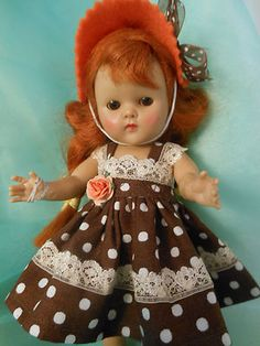 Little hat and polka dot dress for Ginny and Muffy dolls.Madam Alexander too.
