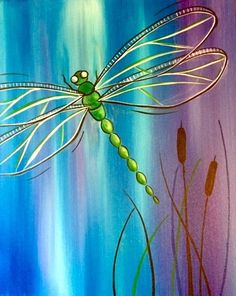 Easy Canvas Painting, Simple Acrylic Paintings, Painting & Drawing, Canvas Art, Dragonfly Painting, Dragonfly Wall Art, Rock Painting Designs, Painting Inspiration, Watercolor Paintings