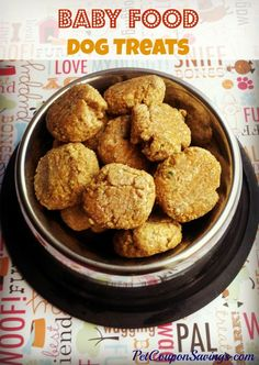 Baby Food Dog Treats are easy to make with only 2 ingredients needed! Make these DIY dog treats soft or crunchy. Baby food is good for dogs, too. Dog Treat Recipe Baby Food, Meat Baby Food, Dog Treat Recipes, Baby Food Recipes, Pet Food, Puppy Food, Soft Dog Treats, Puppy Treats, Diy Dog Treats