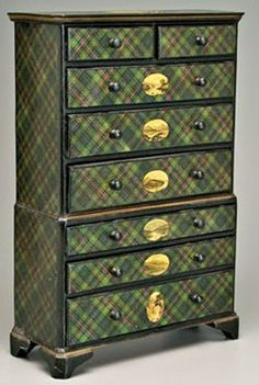 """A rare tartan ware miniature high chest, top and bottom sections with graduated drawers, top section with two-over-three drawers, lower section with three drawers, bracket feet, each with oval print of Scottish Highland scenes, waterfalls, lakes, mountains, top with oval medallion """"Loch Lomond from Above Luss"""", Murray tartan, original surface, late 19th to early 20th century."""