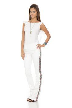Calça Couro Tweed Cores Branca - roupas-calcas-calca-couro-tweed-cores-branca Iorane