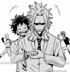 Izuku, All Might, Saitama, Genos, My Hero Academia, One Punch Man, crossover, funny; Anime