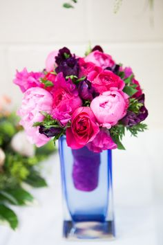 Flower Design Events: Hot Pink Wedding Bouquet of Peonies, Sweet Peas & English Garden Roses