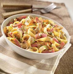 Tagliatelles au bacon, champignons, sauce aux petits oignons