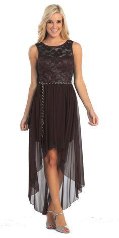 High Low Black Dress Chiffon Lace Top Wide Strap Illusion Neck