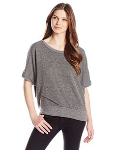 Alternative Womens Plated French Terry Short Sleeve Dolman Top Eco Black Medium * Find out more about the great product at the image link.