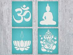 Four printable files: the Om symbol, Buddha, Lotus Flower and Ganesha silhouettes in the look of watercolor paper against a teal / turquoise linen background. Buddha Kunst, Buddha Art, Buddha Lotus, Tibet, Meditation Space, Meditation Symbols, Yoga Art, Wall Art Sets, Mandala Art