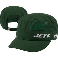 NFL New York Jets Goal-2-Go Women's Military Cap, Green, One Size Fits All by New Era. $18.22. 100% Cotton. cotton. The New Era® NFL Goal-2-Go Is A Women's Military Style Adjustable Cap Featuring A Solid Team Color Cap With An Adjustable Velcro Strap.  The Cap Has A Screen Printed Peek-A-Boo Team Logo On The Front Panel, As Well As An Embroidered Team Name, A Stitched