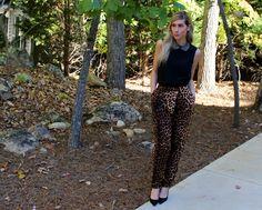 Leopard Pants and Peter Pan Collar Top