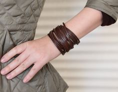 Brown Leather Wrap Bracelet. Black Leather Cuff. Wrap Leather Bracelet. Stacked Rustic Leather Cuff. Stranded Sliced Bangle Braceletes B001R on Etsy, $14.99