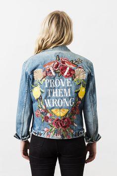 Denim and Bone 'Prove Them Wrong' embroidered vintage denim jacket #jeansjacket
