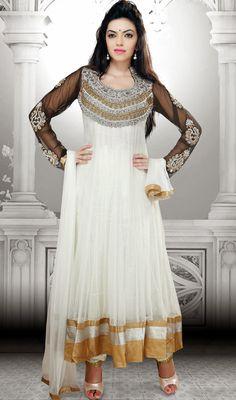 Off White and Black Net Long Anarkali Churidar Suit Price: Usa Dollar $192, British UK Pound £113, Euro141, Canada CA$208 , Indian Rs10368.