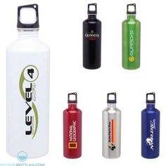 Gulp your favorite flavor out of this streamlined, stainless steel sport bottle, whether out for a run or in the breakroom for lunch.  The strong metallic colors build energy for your brand and offer a dazzling backdrop for your logo.  Hole on the screw-top lid offers easy attachment to a carabiner or clip for portability.  Or hook a finger through the hole and go!  Size: holds 24 oz. Custom Water Bottles, Stainless Steel Bottle, Break Room, Metallic Colors, Guinness, Finger, Strong, Lunch, Sport