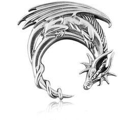 925 Sterling Silver Lunar Crescent Moon Gothic Big Dragon Charm Pendant