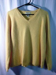 Eddie Bauer Women's V-neck Yellow Lambswool Angora Silk Pullover Sweater LRG. #EddieBauer #VNeck