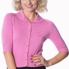 Candy Pink Short Sleeve Crop Collar Cardigan